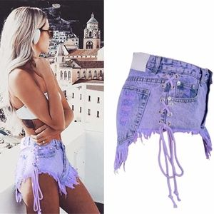 NWT Sexy High Waisted Ripped Side Tie Jean Shorts
